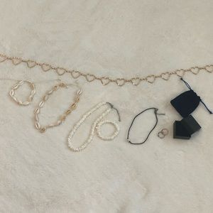Heart chain belt. Puka shell, pearl necklace.